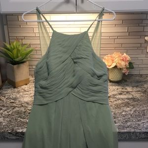 Azazie Ginger dress in color Dusty Sage. Size A8.
